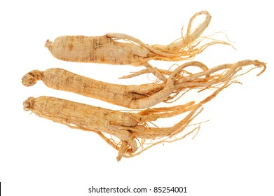 Dried Ginseng isolated On White Background