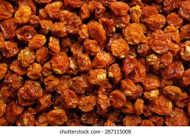 Dried goldenberries as an abstract background texture