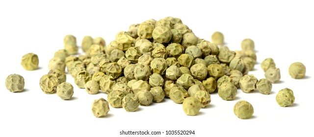 dried green peppercorns isolated on white