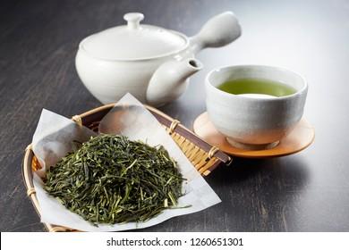 Dried green tea leaves, Japanese tea, Sencha, Ryokucha
