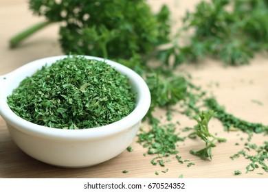 Dried herb parsley leaves