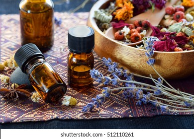 dried herbs with essential oils for aromatherapy treatment
