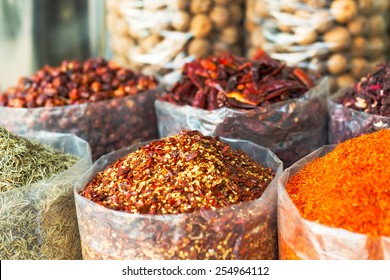 Dried herbs, flowers , spices in the souk at Deira in Dubai