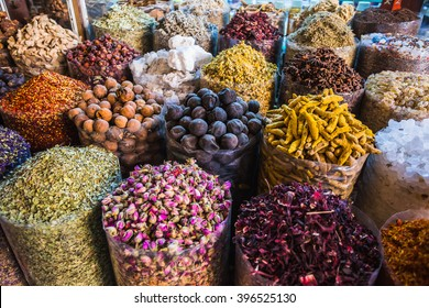 dried herbs flowers spices in the spice souq at Deira. UAE Dubai