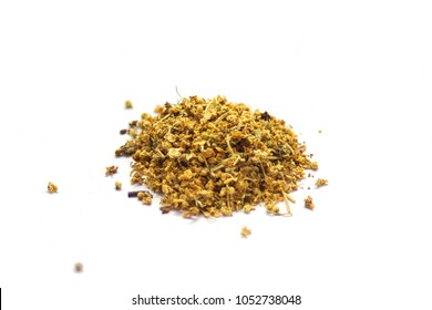 Dried herbs for infusion on white