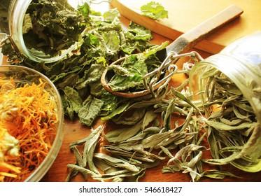 Dried herbs  prepared for tea