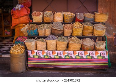 Dried herbs for sale in Marrakesh street, Morocco
