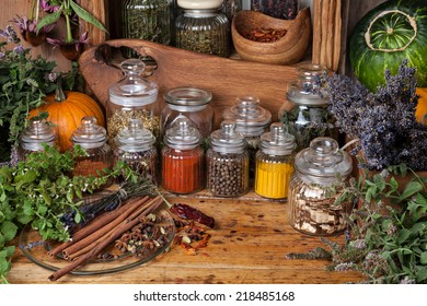 Dried herbs and spices.