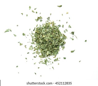 Dried Italian parsley, petroselinum crispum, isolated on white