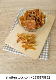Dried jackfruit on cutting board