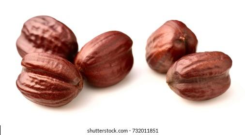 dried jojoba seeds isolated on white