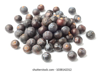 dried juniper berries isolated on white background