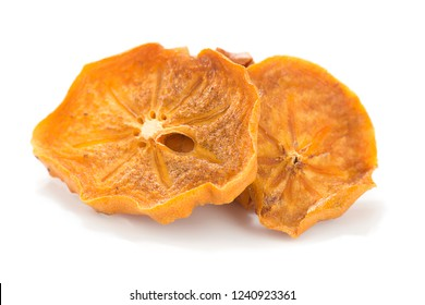 Dried Kaki Fruit Slices Isolated