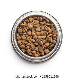 Dried kibble pet food in bowl. Heart shape dried animal food isolated on white background.