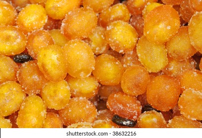 Dried Kumquat fruit, citrus family similar to orange, focus in the center, strong depth of field