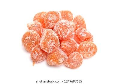 Dried Kumquats or cumquats Succade . Isolated on white background.