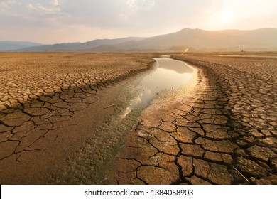 Dried lake and river on summer, Water crisis and Drouht impact case or climate change.