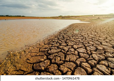 Dried lake and river on summer, Water crisis at thailand and Climate change or drought concept.