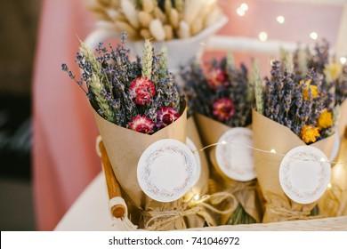 Dried lavender bouquet.