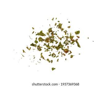 Dried lemon balm pile isolated on white background. Lemon balm spice. Bio organic lemon balm tea.