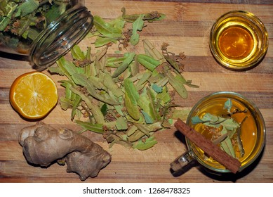 Dried linden flowers with lemon,honey,ginger and cinnamon stick for a linden tea.