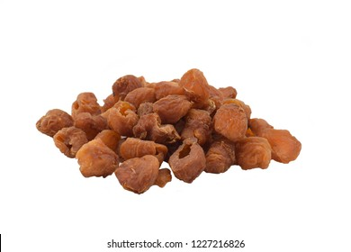 Dried longan on white background.
