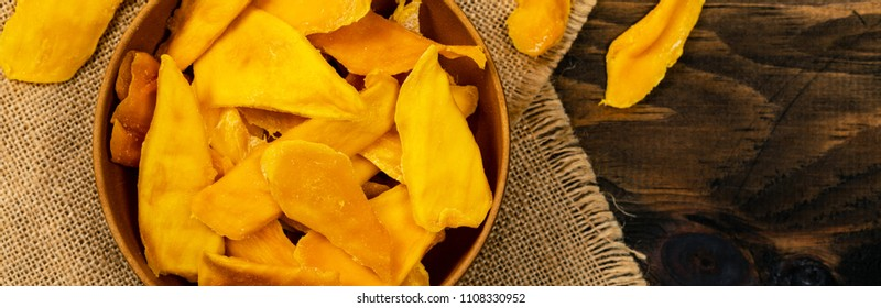 Dried Mango Fruit. Panoramic image. Selective focus.