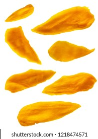 Dried Mango Fruit Pieces Isolated on White Background