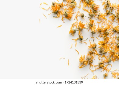 dried marigold flowers, dried marigold flowers on a white background, medicinal plants