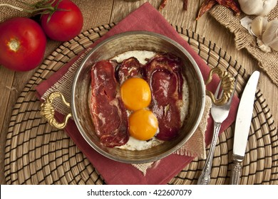 Dried Meat bacon Turkish pastirma with egg, Turkish traditional sunday breakfast food