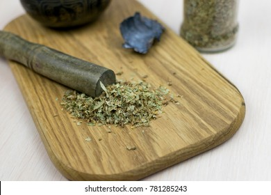 Dried medicinal plant on a wooden board. Dry Irish moss.