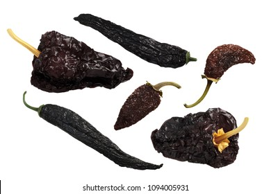 Dried Mexican chile peppers: Pasilla, Ancho Mulato, Chipotle Morita, whole pods
