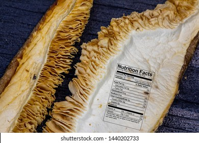 Dried mixed wild mushrooms macro close up texture and details with nutritional data label.