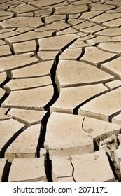 Dried mud cracks along wash in southern Nevada