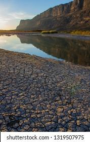 Dried Mud In Texas. Santa Elena Canyon And Rio Grande. Big Bend National Park.