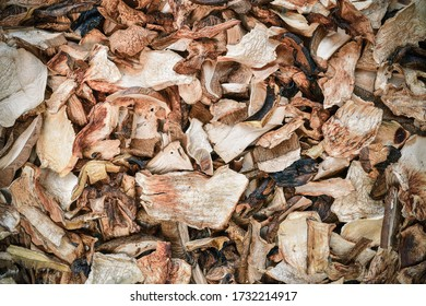 Dried mushrooms, a healthy natural addition to dishes. Freshly picked edible mushrooms from the forest were dried. Prepared for tight packing.