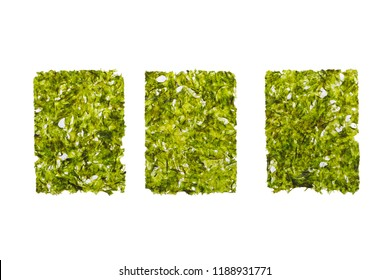 dried nori seaweed laminaria sheet, isolated on white