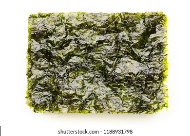 dried nori seaweed laminaria sheets, isolated on white