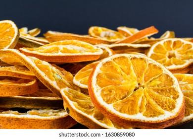 Dried orange on a black background