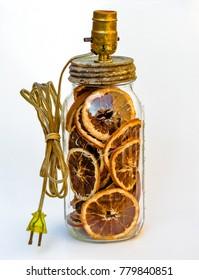 Dried Orange Slices in Antique Jar