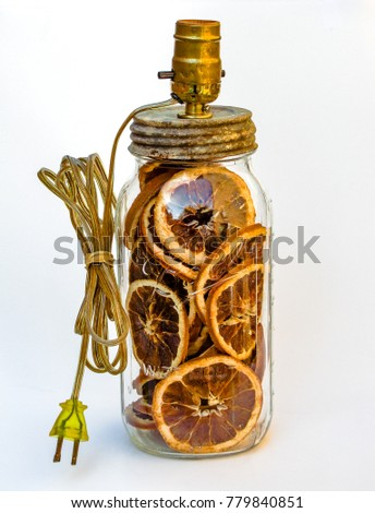 Dried Orange Slices in Antique Jar