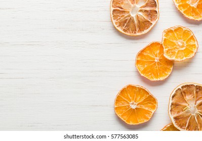 dried orange slices arranged Sliced citrus. Space for text.