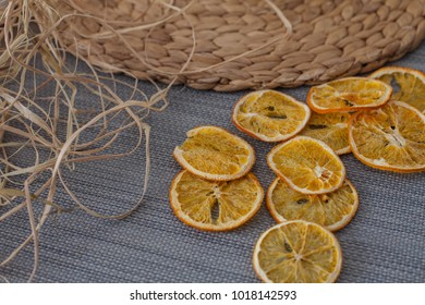 dried oranges background
