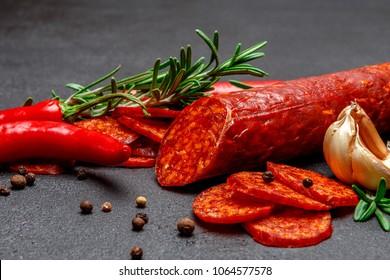 Dried organic salami sausage or spanish chorizo
