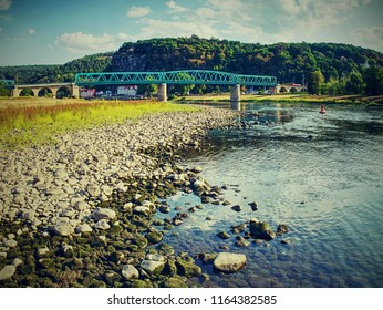 Dried out river bed of the Elbe near town Decin, Czech Republic, summer 2018. Dry land by the biggest river in Czech and Germany.