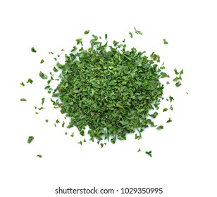 dried parsley isolated on white background.