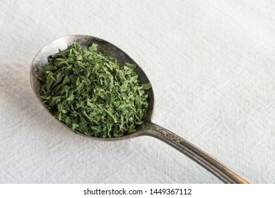 Dried Parsley on a Vintage Spoon