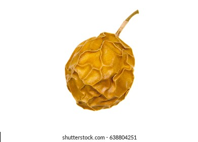 Dried passionfruit or Granadilla against a white background