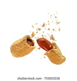 Dried peanut broken into two parts on white background