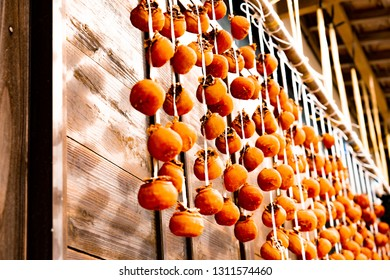 Dried persimmon at the eaves
